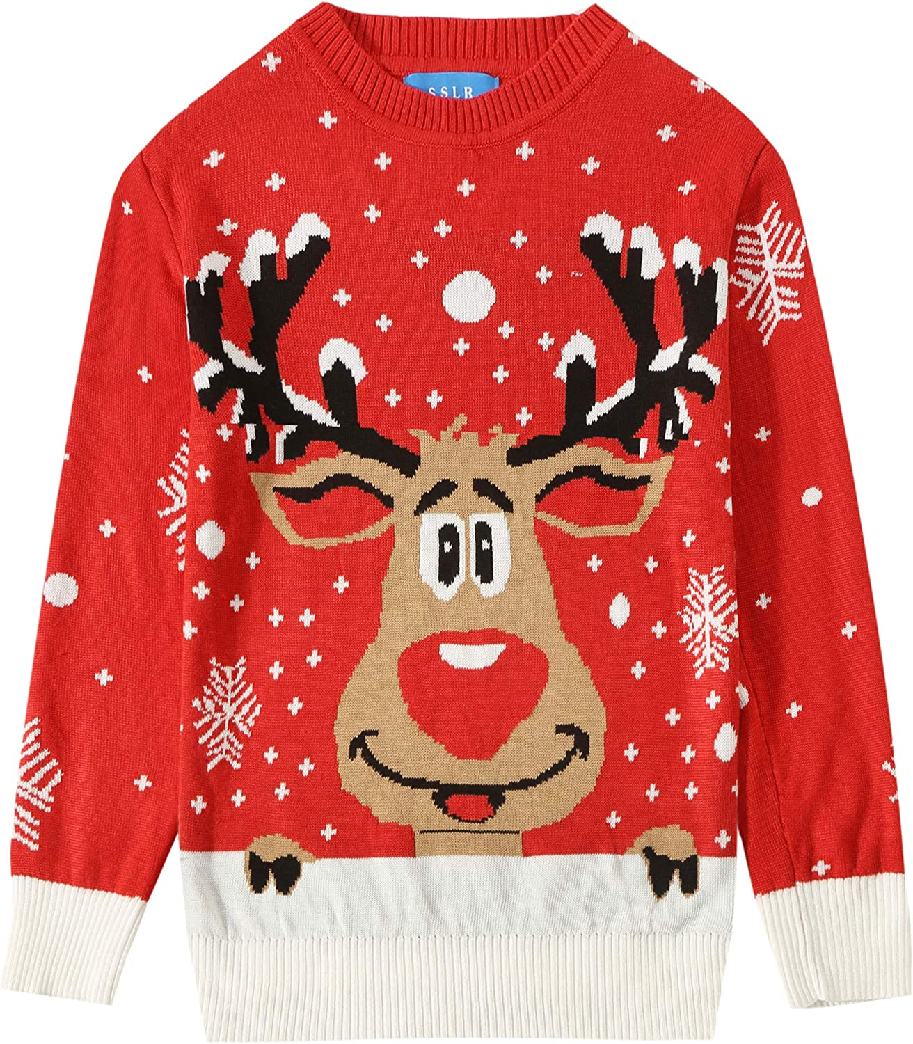 SSLR Youth Big Boys Holiday Santa Clause Knitted Sweater Ugly Christmas Sweater for Kids
