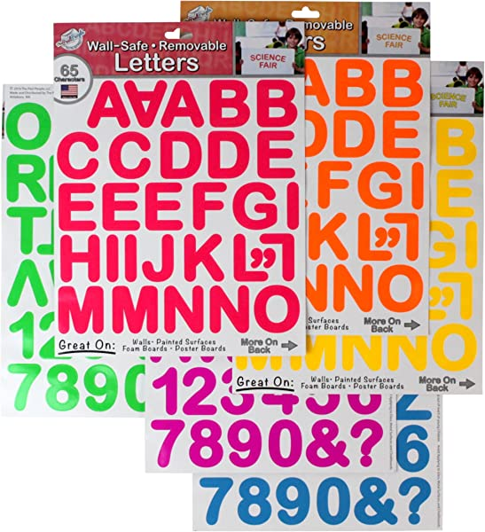 THE PEEL PEOPLE Wall Safe Removable Letters Numbers Neon 390 Total Stickers