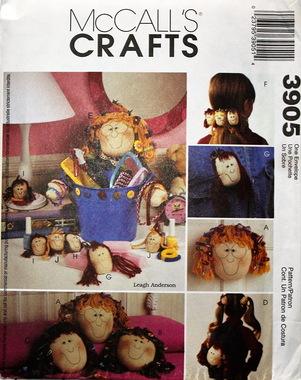 McCall's Crafts 3905 Sewing Pattern Accessories for Girls Tote Bag, Pillow, Barrette, Pin, Ponytail Holder, Accessory Holder