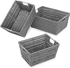 Whitmor Rattique Storage Baskets, Set of 3, Grey