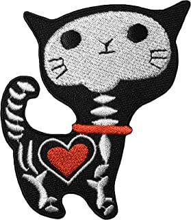 Papapatch Cute X-ray Cat Skeleton Bone Skull Red Heart Kitten Funny Cartoon Sew on Iron on Embroidered Applique Patch - Black (IRON-XRAY-CAT-BK)