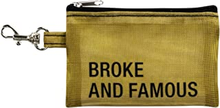 Broke And Famous On Goldtone 8 x 3 Nylon Mesh Keychain Wallet