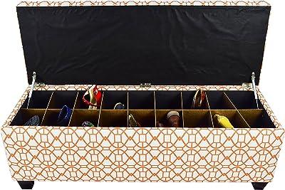 "MJL Furniture Designs Large Upholstered Storage Button Tufted Ottoman, 54"" x 18"" x 20"", Orange Sunset"