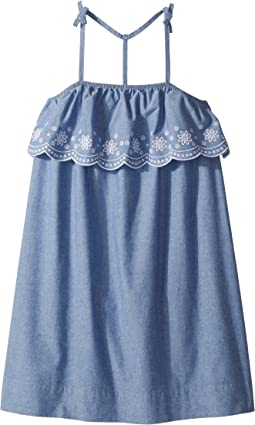 Chambray Scalloped Embroidered Dress (Big Kids)