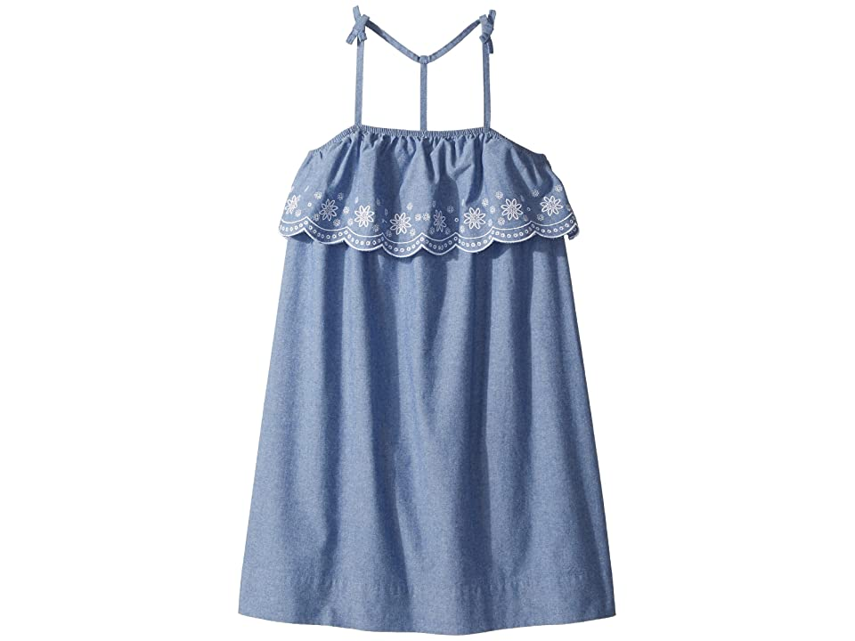 Tommy Hilfiger Kids Chambray Scalloped Embroidered Dress (Big Kids) (Parisian Blue) Girl