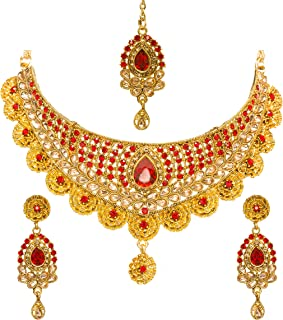 Bindhani Women's Indian Jewelry Simple Bridal Bridemaids Party Wear Crafted Brides Gold Plated Kundan Polki Red Choker Necklace Earrings Tikka Fashion Bollywood Style Jewellery Set for Wedding