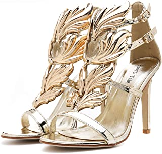Women's High Heel Gladiator Sandals Gold Flame Party Dress Stiletto Shoes