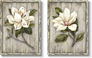 """TAR TAR STUDIO White Flower Wooden Wall Art: Abstract Floral Painting Artwork Framed for Bedroom (18"""" W x 24"""" H x 2 PCS, M..."""