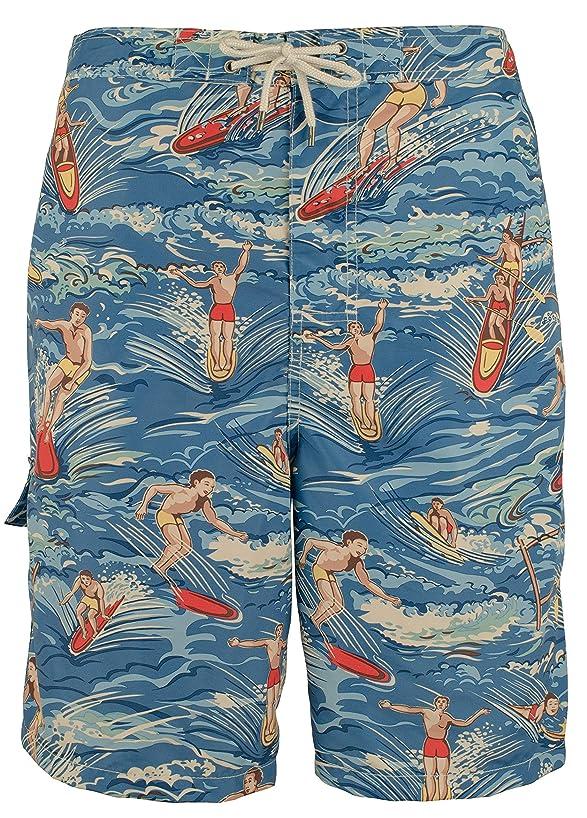 Polo Ralph Lauren Men's Big and Tall Kailua Surf Swim Trunks (Hawaiian Surfer)