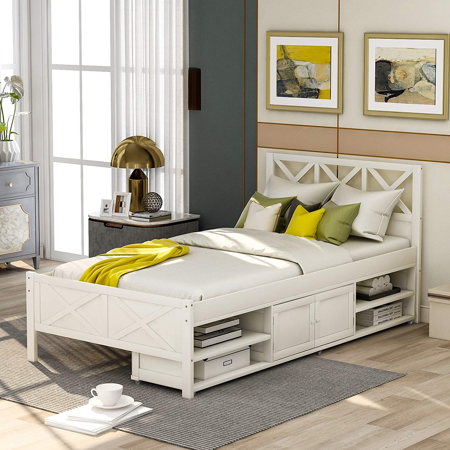Harper Bright Designs Cheap mail order shopping SEAL limited product Twin Bed headboard Wood with Frame