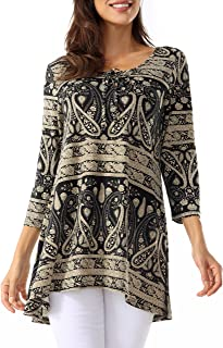 Bzonly Women Casual Tunic Top 3/4 Sleeve Paisley Printed Scoop Neck Blouses