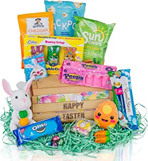 Filled Easter Basket Gift Set- Easter Chocolate, Candy, Snacks, Treats, Plush Egg & Bunny Easter Gift Basket - Our Prefilled Easter Baskets are Cherished as Easter Care Packages