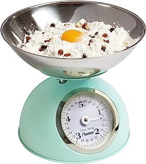 Bestron Analoge Küchenwaage mit abnehmbarer Wiegeschale, Retro Design, Sweet Dreams, Tragkraft: 5 kg, Mintgrün