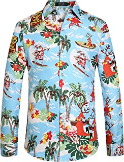 Men's Santa Claus Party Long Sleeve Hawaiian Ugly Christmas Shirts