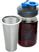 Cold Brew Coffee Maker with Flip Cap Lid by County Line Kitchen - 1 Quart - Make Amazing Cold Brew Coffee and Tea with This Durable Mason Jar and Stainless Steel Filter and Flip Cap Lid