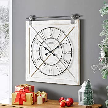 "FirsTime & Co. Farmstead Barn Door Wall Clock, 29""H x 27""W, Whitewash, Metallic Gray, Black"