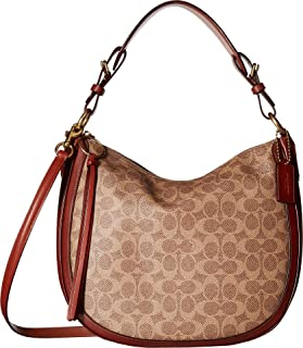 af6fc89f57 COACH Women s Coated Canvas Signature Sutton Hobo B4 Tan Rust One Size