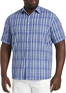Oak Hill by DXL Big and Tall Medium Plaid Seersucker Sport Shirt, Gray Blue