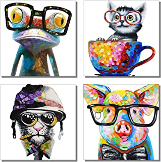 789Art – Animal Picture Cool Wall Art Happy Frog Dog Cat Poster Pig Wearing Glasses Artwork Cartoon Images Canvas Oil Painting for Office Kids Room Home Decoration(12