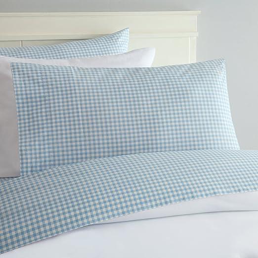 Amazon Com Laurel Mayfair Gingham Sheet Set Full Blue Home Kitchen