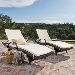 Christopher Knight Home 296789 Salem Outdoor Chaise Lounge, Brown with Off White
