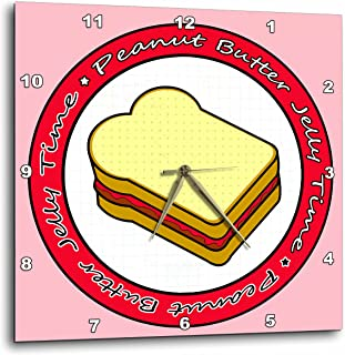 3dRose DPP_77603_3 Peanut Butter Jelly Time-Strawberry Jelly-Wall Clock, 15 by 15-Inch