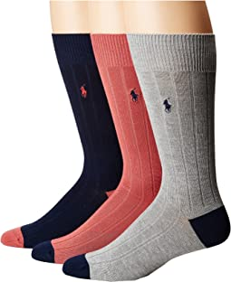 Polo Ralph Lauren - Soft Touch Rib Heel/Toe 3-Pack Socks