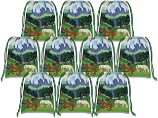 Wild Horses Drawstring Bags Kids Birthday Party Supplies Favor Bags 10 Pack