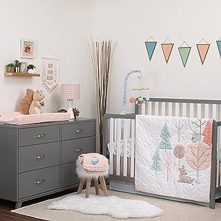 Carter's Woodland Meadow Forest/Deer/Owl 3 Piece Nursery Crib Bedding Set, Peach/Aqua/White