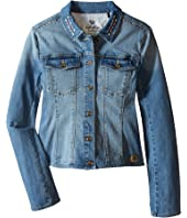 IKKS - Denim Jacket with Large Stones & Embroidered Detail (Little Kids/Big Kids)