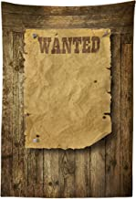 Lunarable Western Tapestry, Old Wooden Texture Background with Vintage Wanted Poster Sign Wild West Print, Fabric Wall Hanging Decor for Bedroom Living Room Dorm, 30