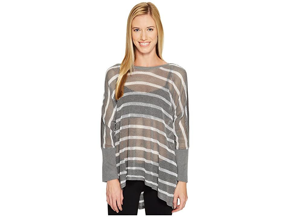 Blanc Noir Stripe Drape Sweater (Light Grey Heather/White) Women