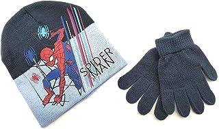 Marvel Spider-Man set muts en handschoenen voor kinderen, 100% acryl, maat 52. (Kleur: blauw).