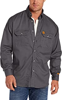 Wrangler Riggs Workwear Men's FR Flame Resistant Long Sleeve Two Pocket Work Shirt, Slate Grey, Large