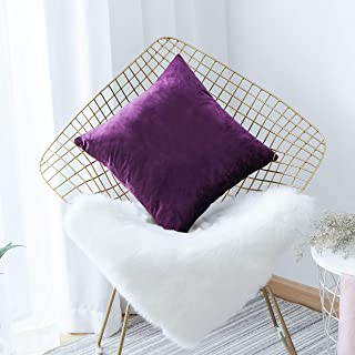 Home Brilliant Velvet Decorative Euro Throw Pillow Cover Sham Large Cushion Cover for Patio Kid's Room, 26x26 inch(66 x 66), Eggplant Purple