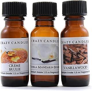 Crazy Candles 3 Bottles Set, 1 Creme Brulee, 1 Vanilla Mandarin Bourbon, 1 Vanilla Woods 1/2 Fl Oz Each (15ml) Premium Grade Scented Fragrance Oils