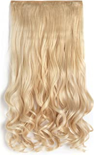 """OneDor 20"""" Curly 3/4 Full Head Synthetic Hair Extensions Clip On/in Hairpieces 5 Clips 140g"""