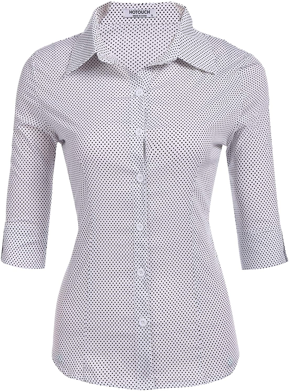 Hotouch Womens 3/4 Sleeve Basic Button Down Shirt Slim Fit Cotton Dress Shirts