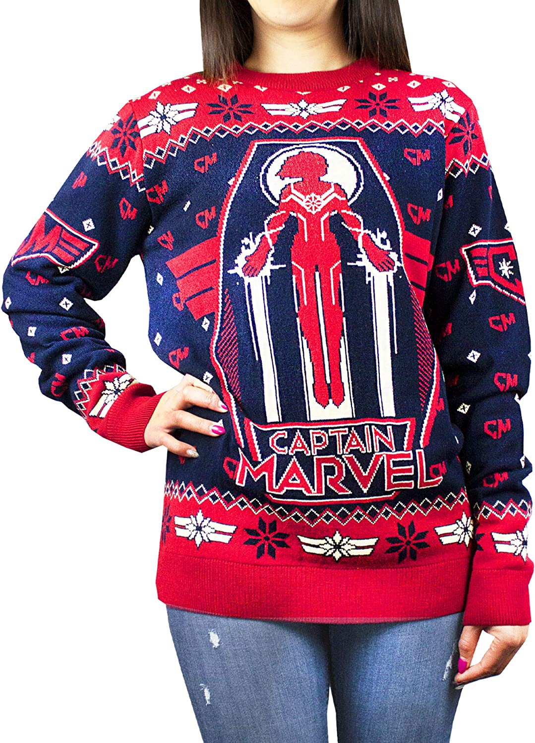 Captain Marvel Women's Premium Red Christmas Brand Cheap Sale Venue Max 68% OFF Black Jumpe Knitted