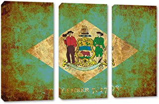 60 x 40 Total - Delaware Flag Grunge Wall Art Canvas Print Rustic 3 Panel Split, Triptych. State Flag Home Decor