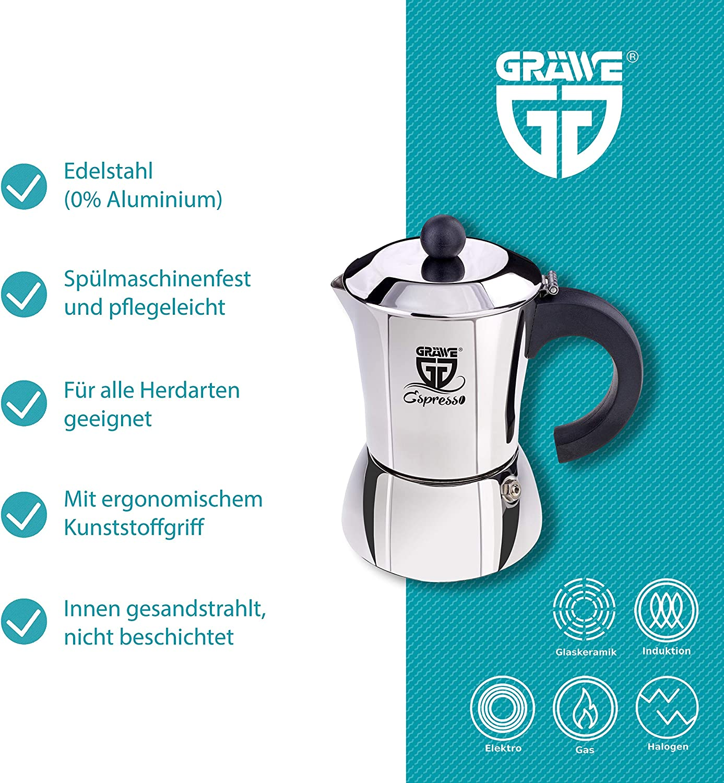 Moka caf/é expresso avec poign/ée et poign/ée bleue 2 tasses bleues Granchef Cafeti/ère en aluminium 2 tasses