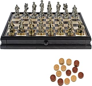 WE Games Pewter Civil War Chess & Checkers Set with Camphor Wood Board & Storage Drawers - 15 in.