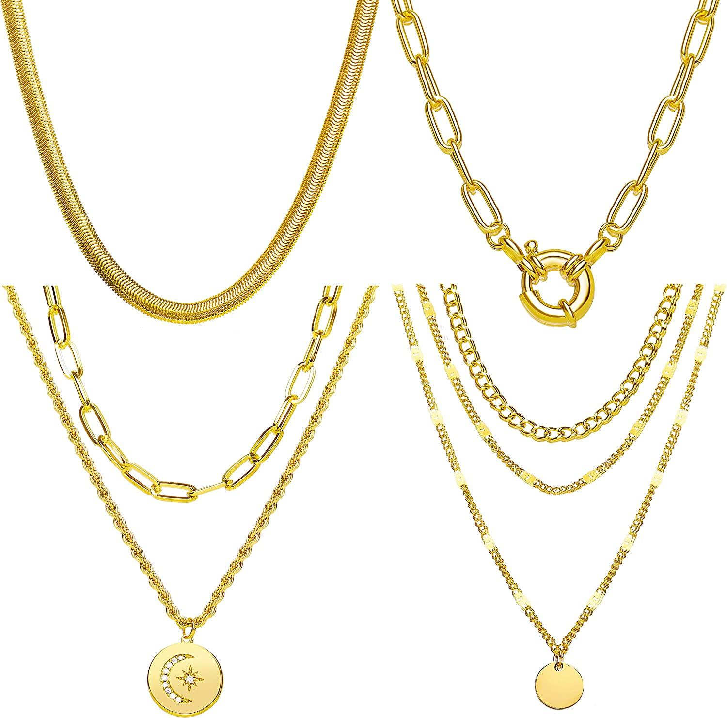 4 Pcs Gold Chain Necklaces for Women Layered Gold Necklace Set Pendant Paperclip Snake Chain Necklace for Girls Jewelry