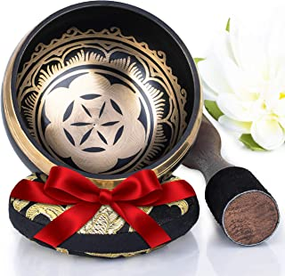 Silent Mind ~ Tibetan Singing Bowl Set ~ Power and Strength Design ~ With Dual Surface Mallet and Silk Cushion ~ Promotes ...