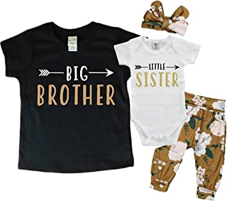 Big Brother Little Sister Matching Set 0-3M Bodysuit & 5T Shirt