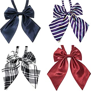 Rusoji 4pc Women's Ladies Adjustable Pre-Tied Ruffled Large Ribbon BowTie Neck Ties