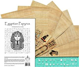 NileCart Egyptian Papyrus Blank Sheets 8 x12 in with Hieroglyphic Alphabet Stencil Ruler & Bookmarks (10 Sheets)