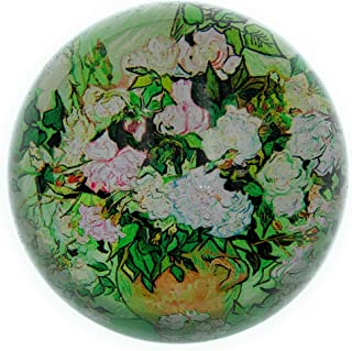 Value Arts Vincent Van Gogh Vase with Pink Roses Glass Dome Paperweight, 3 Inches Diameter
