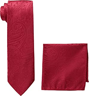 Pierre Cardin Men's Solid Paisley Tie and Pocket Square, red, One Size