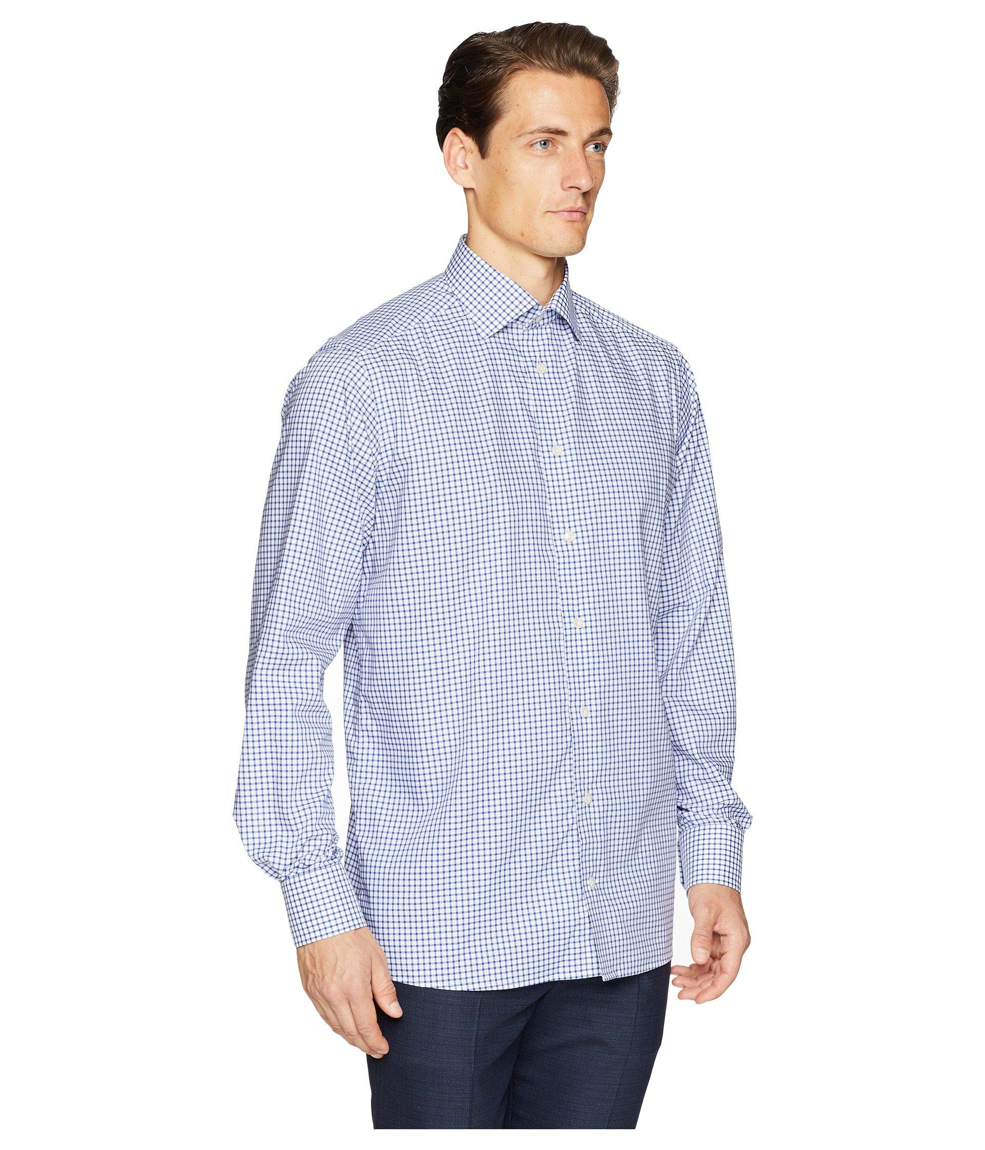 Contemporary Fit Shirt Blue Grid Check Stretch Eton fd5ARqwf
